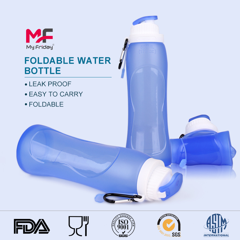 Outdoor portable soft collapsible silicone stainless sports bottle