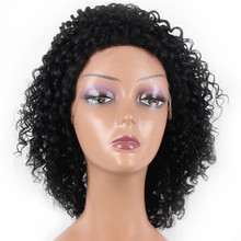 Invisible Deep Parting Short Kinky Curly Lace Wigs For Black Women ,Natural Looking Brazilian Remy Human Hair bob lace front Wig