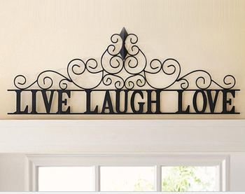 Decorative Scrolling Live Laugh Love Metal Wall Art