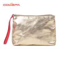 Shiny gold glitter cosmetic bag for women pu cosmetic bag for travel