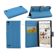 For Huawei Ascend P6 Premium PU Leather Wallet Stand Protective Case With Two OR Three Card Holder Magnetic Closure Cover Bag