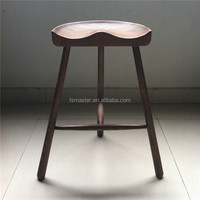 modern style hip shape ash wood 3 legs counter stool