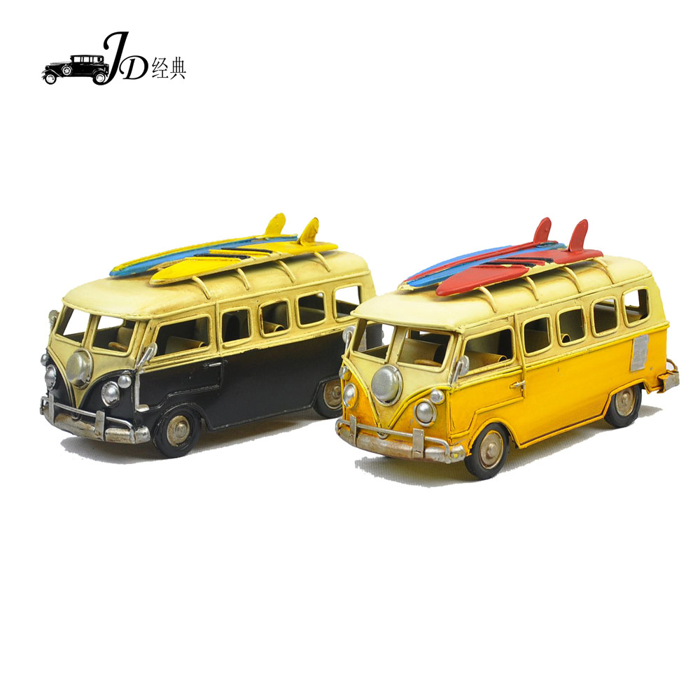 2016 new design vintage home cafe decoration 100% handmade mini bus in stock metal model