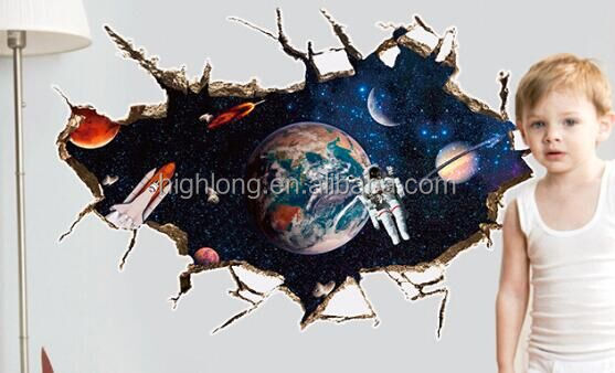 Space 3D View Solar system Art PVC Visual Effect Decal Removable Room Decorations Stickers