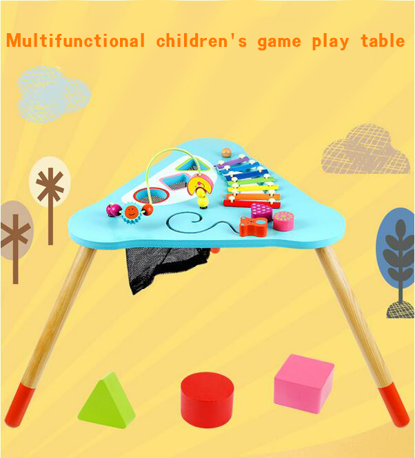 Three - leg large beads toy around wooden early teaching multi - purpose game table