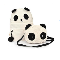 Cheap Cute Animal Panda Canvas School Backpack For Girls With A Littlle Bag