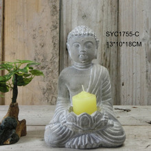 Wholesale indoor decorative Cement Buddha candle holder