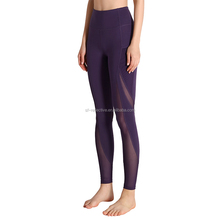 latest designs yoga pants mesh fitness training leggings tights with pockets