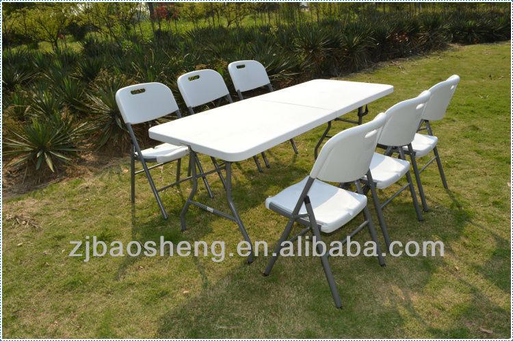 152cm rect ngulo de pl stico plegable mesa del banquete for Mesa plastico jardin