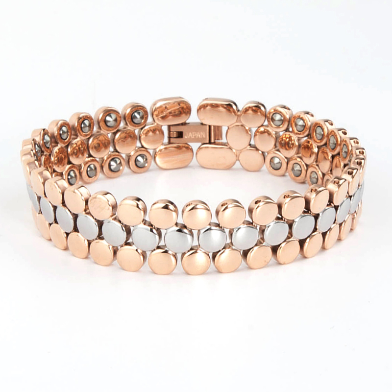 Wholesale korea silver rose gold 99.9999% germanium magnetic energy bracelet for tirednees relief