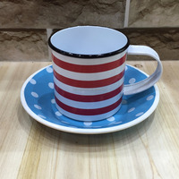 Wholesale Colorful Enamel Coffee Tin Mug with tray