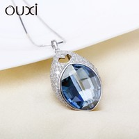 OUXI drop pendant jewelry necklace crystals