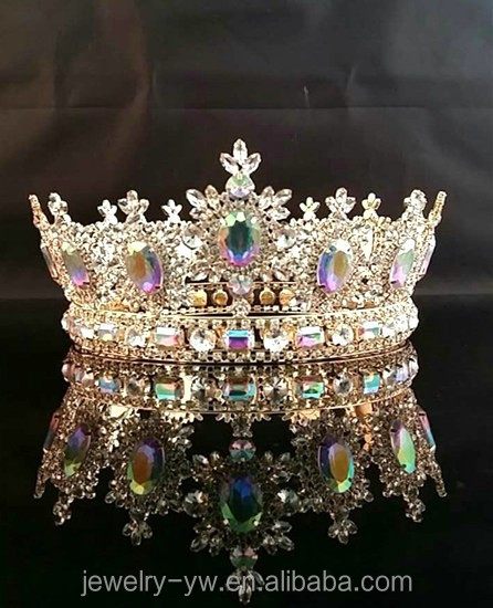 Shining beauty metal gold plated AB stone round pageant crown