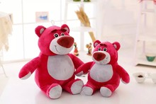 Popular cartoon customized red plush strawberry bear soft toys with white belly