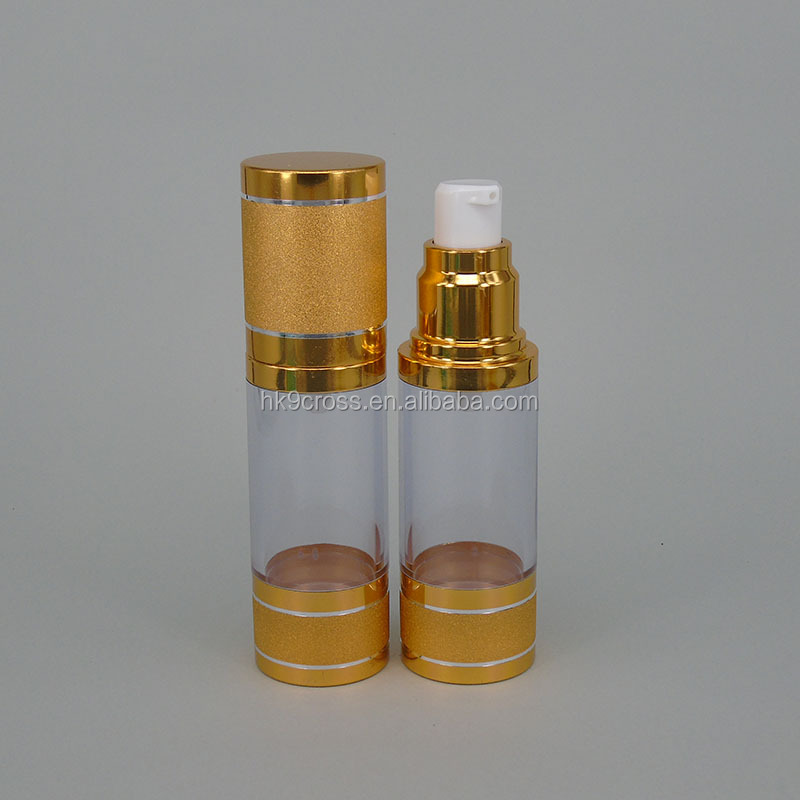 luxury cosmetic containers squeeze vaccum lotion airless pump spray acrylic bottle gold