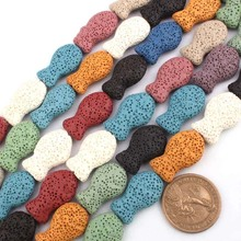 "Multi colorful lava stone beads strand 15"" various shapes"