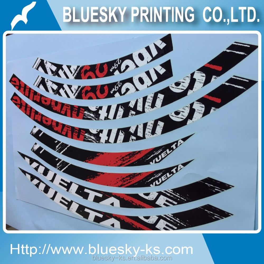 Bicycle rim stickers, bike labels, bike emblems, Product label stickers.