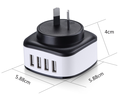 Multi 4USB Fast 4.5A Max Interchangeable Plug Charger Universal Adaptor