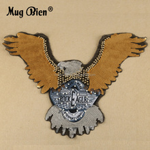 3D pearl embroidery applique bead sequin sewing clothes eagle patch for jacket