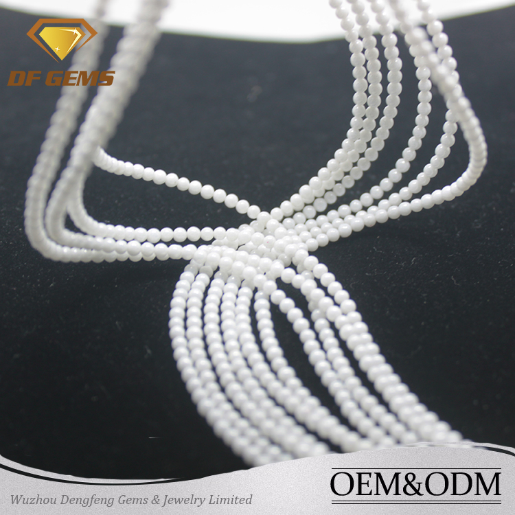 New arrival ball shape cabochon milky zirconia gemstone necklace designs