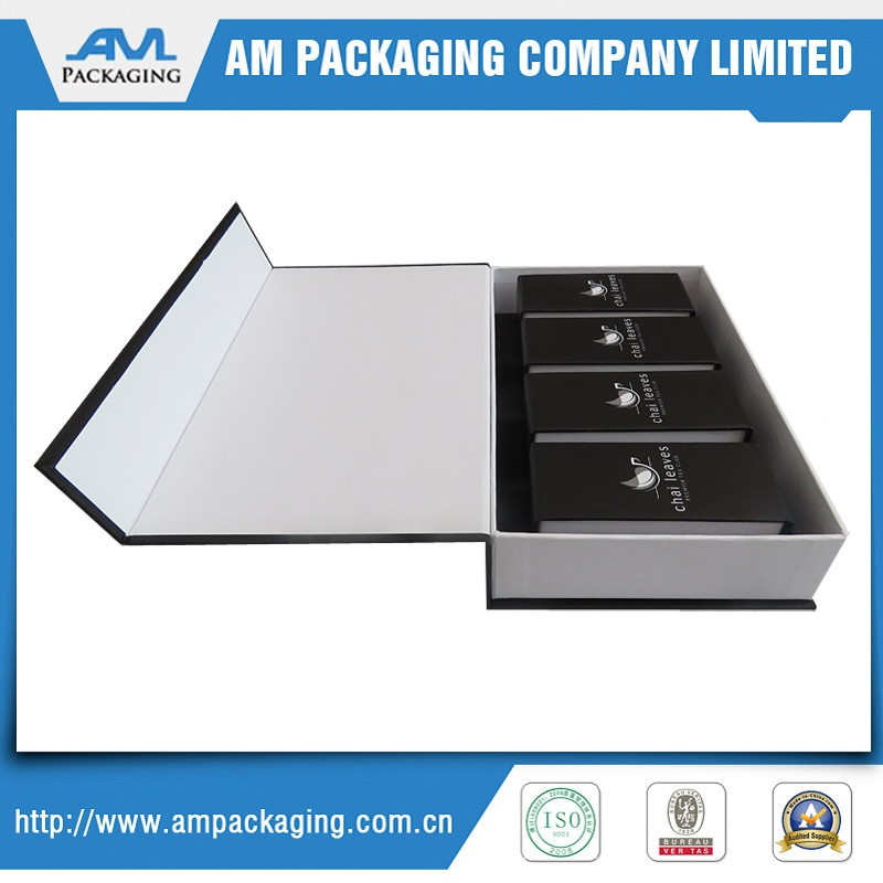big paper box include three inner small gift box CMYK printing embossing log