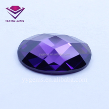 Flat Bottom Checker Cut Amethyst Cubic Zirconia Stone for Bezel Set Gemstone Beads Wholesale