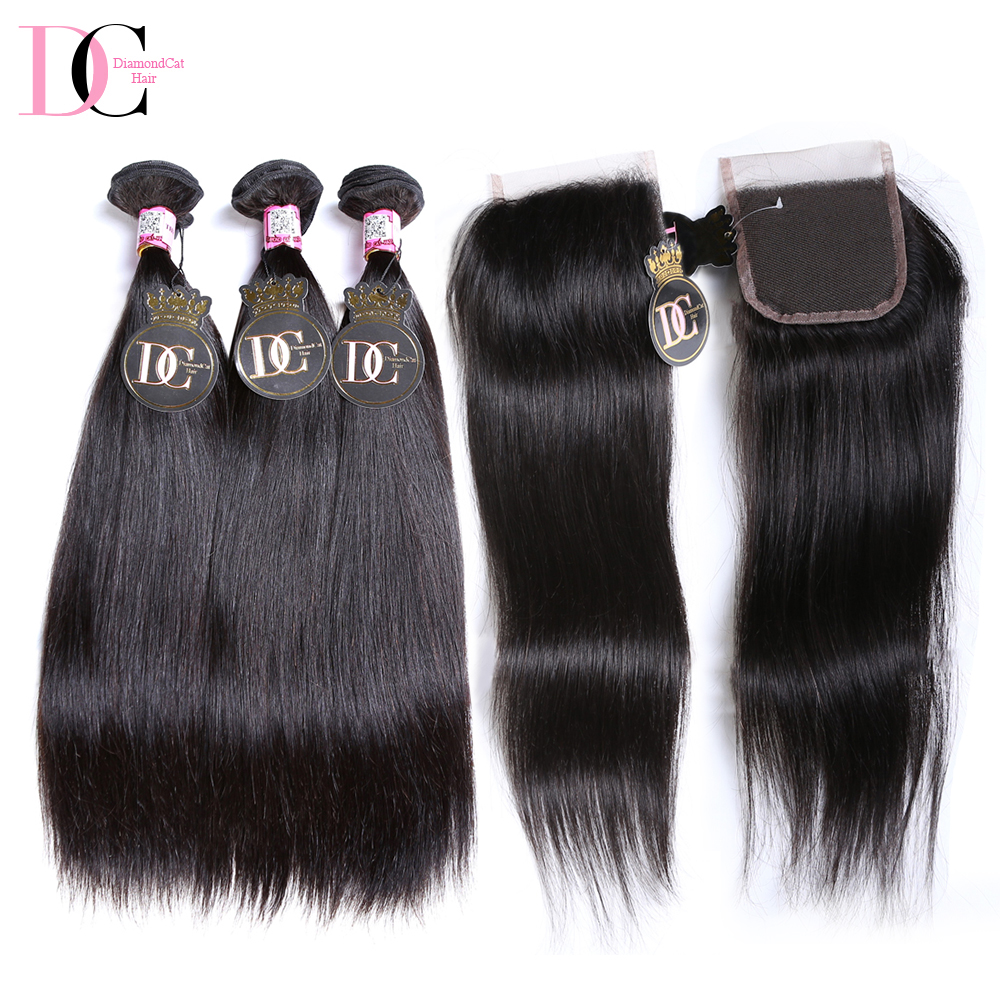 Softer Thicker End Human 16 Inch Straight Hair With Closure Honey Natural Black Malaysian Hair