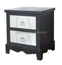 Faux Crocodile Leather 2 Drawer Bedside Table