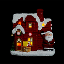 Red Painting Ceramic Christmas Village LED Light Houses With Santa Or Snowman