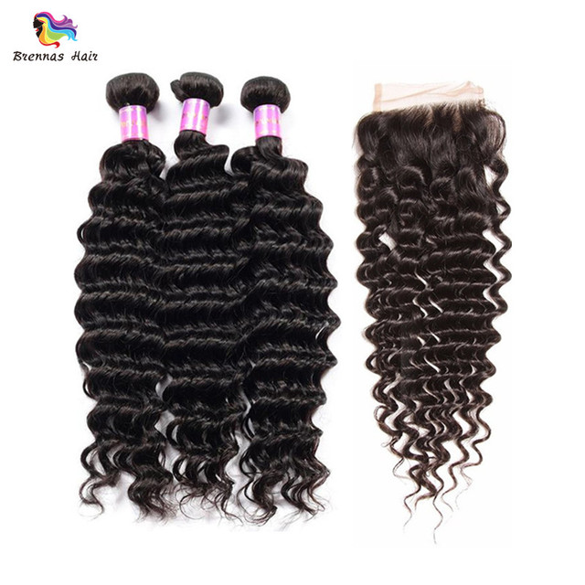 Real Mink 8A Deep Wave Virgin Hair Bundles With 4x4 Lace Closure Raw Remy Hair Extensions