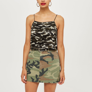 Fashion Camouflage Printed Spaghetti Strap Tank Sexy Top