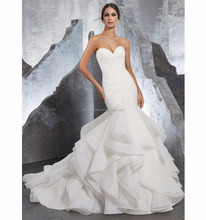 Organza Ruffles Strapless Sweetheart Wedding Gown
