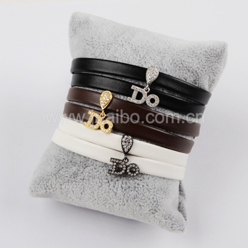 WX606 DO pattern mirco pave beads handmand genuine leather bracelet