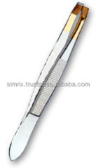 Eyebrow Tweezers Printed With Half Gold Stainless Steel Available in dull & Mirror Finish , Manicure & Pedicure , Simrix