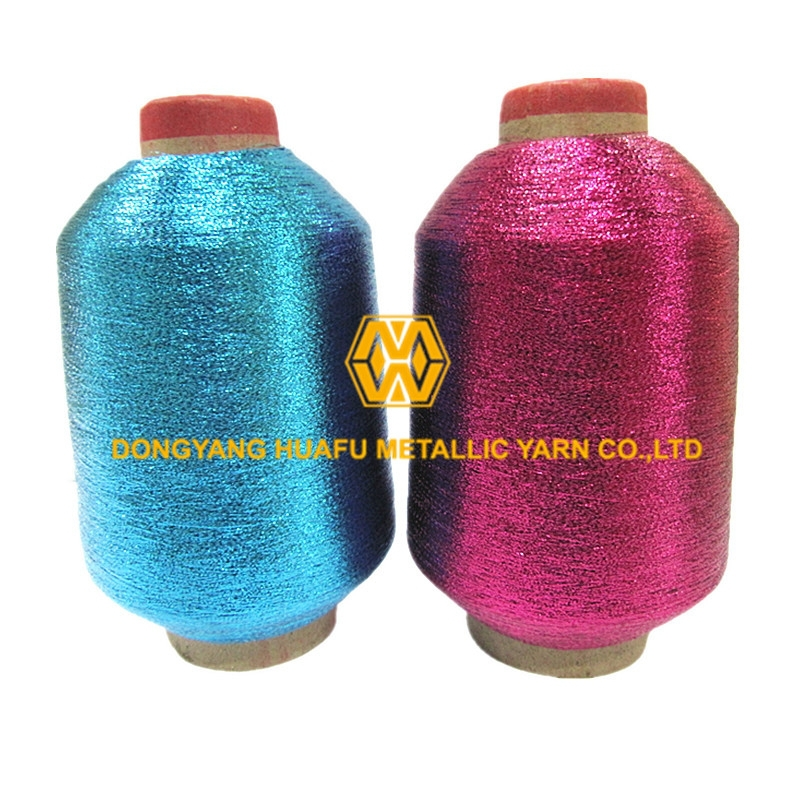 MX Type metallic yarn Lurex polyester yarn blue and rose color