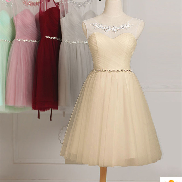 Sleeveless high quality short knee chiffon lace appliques evening party bridesmaid dress