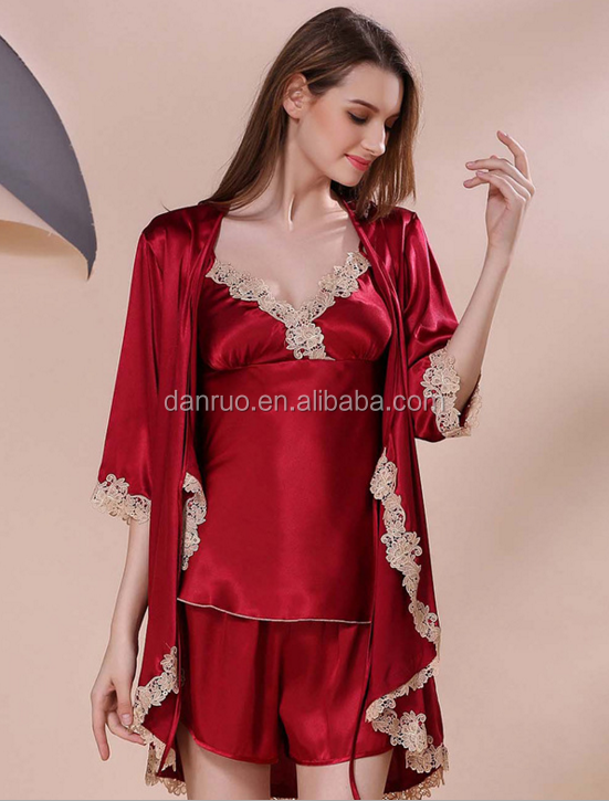 Summer ladies sexy imitation silk girl pajamas silk embroidery harness pajamas shorts long sleeves sleep gown three suit