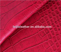 Embossed Crocodile grain pu leather fabric for wallet shoulder bags faux leather fabric