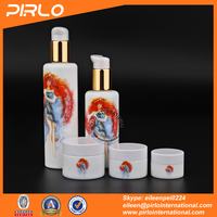 New high-end white porcelain cosmetic packing sits with printing 5pcs per sit empty bottles and jars for cosmetic cream lotion