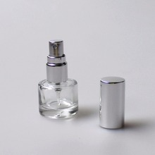 5ml sky blue glass perfume bottle with pump spray freshener wholesale custom shiny silver