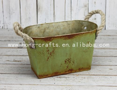 antique/rustic/ shabby chic oval shape Iron planter with linen handle