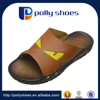 brown soft pu leather men slipper factory in guangzhou