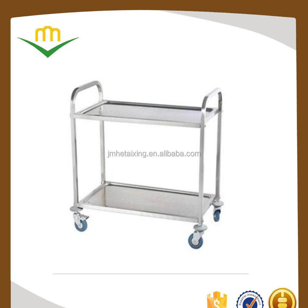 High Quality Stainless Steel Hand Trolley Dining Cart with Lockable Wheels