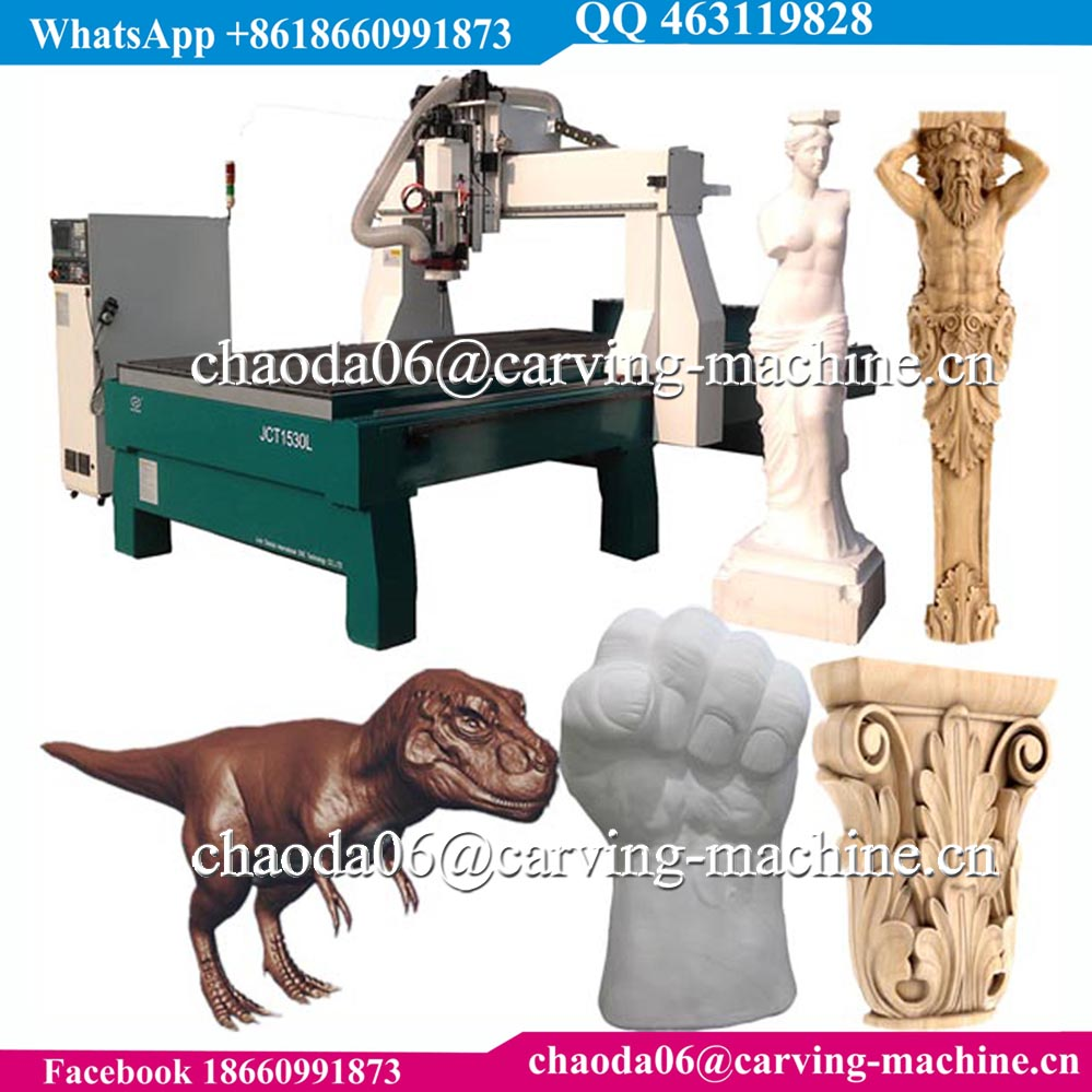 Big rotary axis 3d wod sculpture statue sculpting 5 axis cnc router kit, foam cutting 5 axis eps cnc router