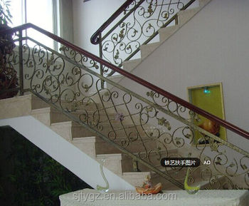 Wrought iron stair railing iron handrail for apartment