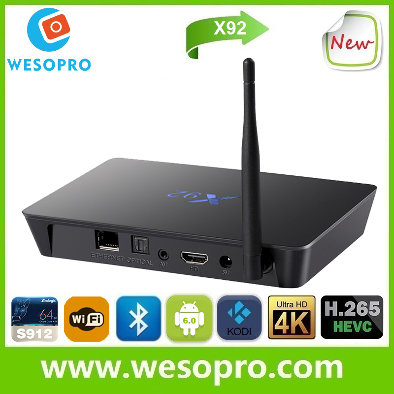 X92 android tv box Amlogic S912 Octa Core android 6.0 tv box 4k 4*USB tv box x92