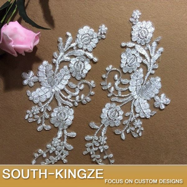 White Bridal Embroidery Motif Lace Applique
