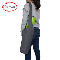 RUNYUAN Yoga Mat Bag - Elegant & Embroidered Cotton Tote With 2 Pockets,Wide Sling Carrier With Long Strap & 2 Elastic Mat Bands