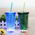 16OZ led flashing double wall tumbler with gel inside