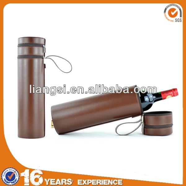 High class single wine leather box, cylinder packaging box for wine